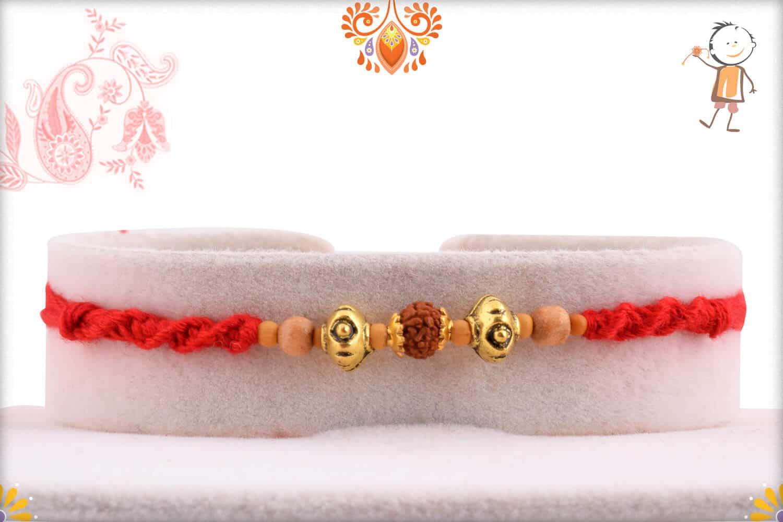 Stylish Rudraksh Rakhi with Unique Beads   Send Rakhi Gifts Online 1