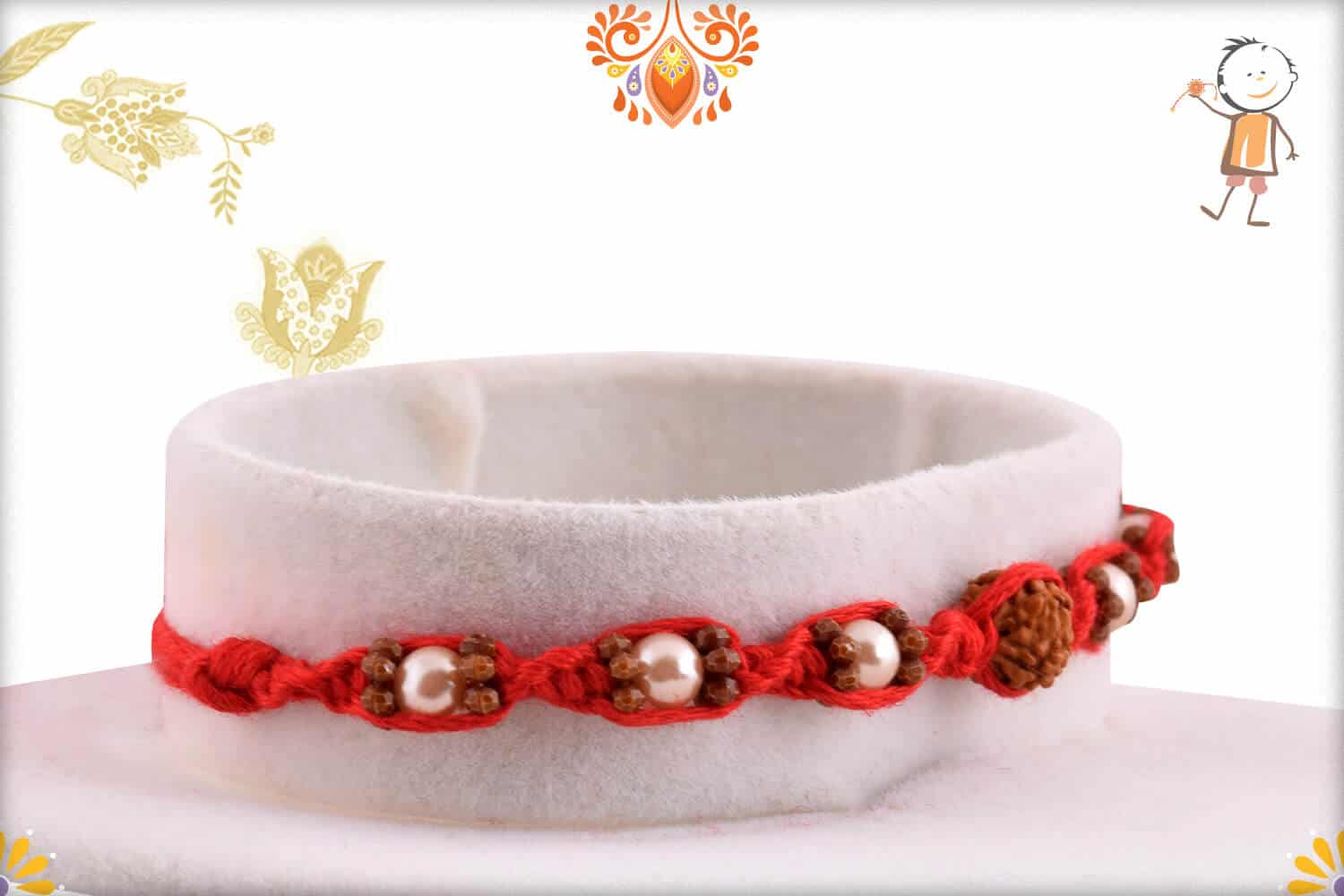 Uniquely Knotted Rudraksh Rakhi with Pearls | Send Rakhi Gifts Online 2
