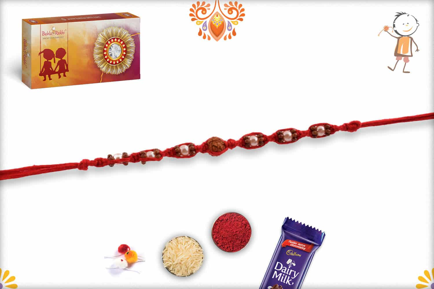 Uniquely Knotted Rudraksh Rakhi with Pearls | Send Rakhi Gifts Online 3