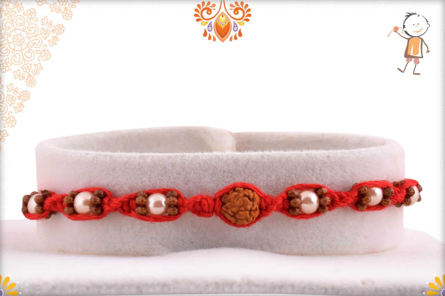 Uniquely Knotted Rudraksh Rakhi with Pearls | Send Rakhi Gifts Online 1