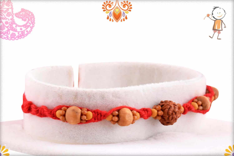 Uniquely Knotted Single Rudraksh Rakhi with Sandalwood Beads 2
