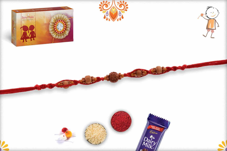 Uniquely Knotted Single Rudraksh Rakhi with Sandalwood Beads 3