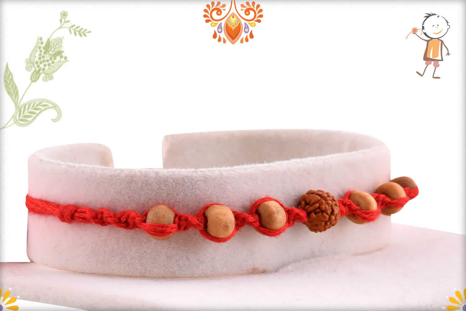 Uniquely Knotted Rudraksh Rakhi with 6 Sandalwood Beads 2