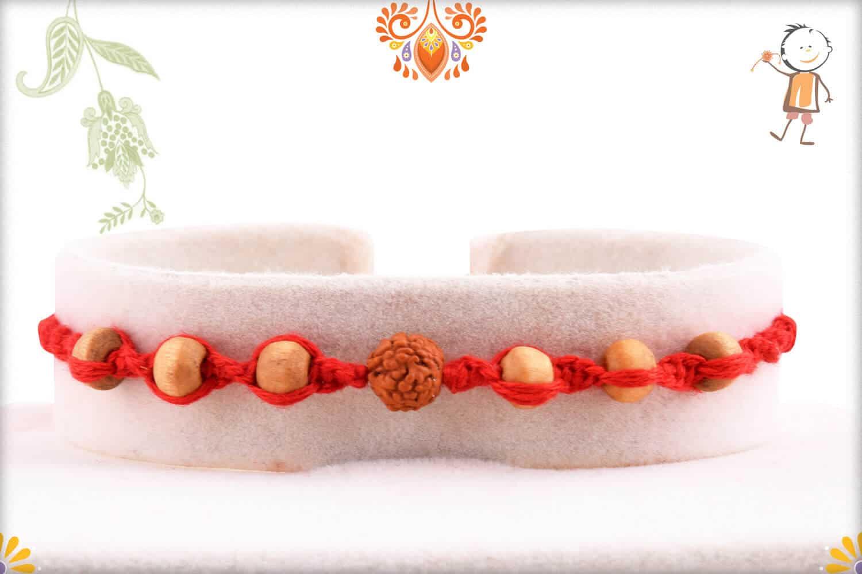 Uniquely Knotted Rudraksh Rakhi with 6 Sandalwood Beads   Send Rakhi Gifts Online 1