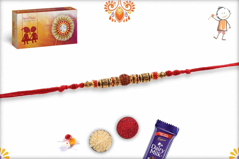 Traditional Single Rudraksh Rakhi with Designer Beads 2