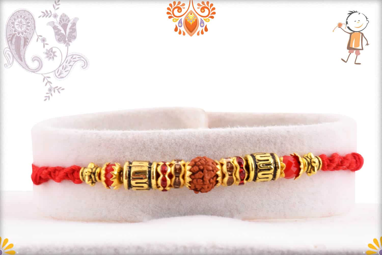 Traditional Single Rudraksh Rakhi with Designer Beads 1
