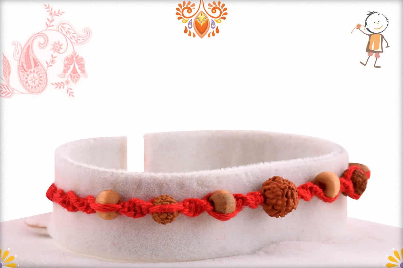 Uniquely Knotted Rudraksh Rakhi with Auspicious Sandalwood Beads 2