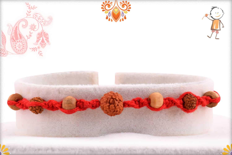 Uniquely Knotted Rudraksh Rakhi with Auspicious Sandalwood Beads 1
