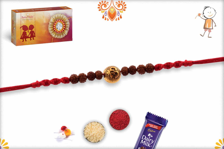 Om Engraved Bead with Rudraksh Rakhi | Send Rakhi Gifts Online 2