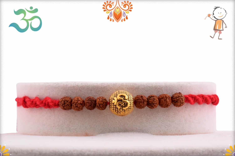 Om Engraved Bead with Rudraksh Rakhi | Send Rakhi Gifts Online 1