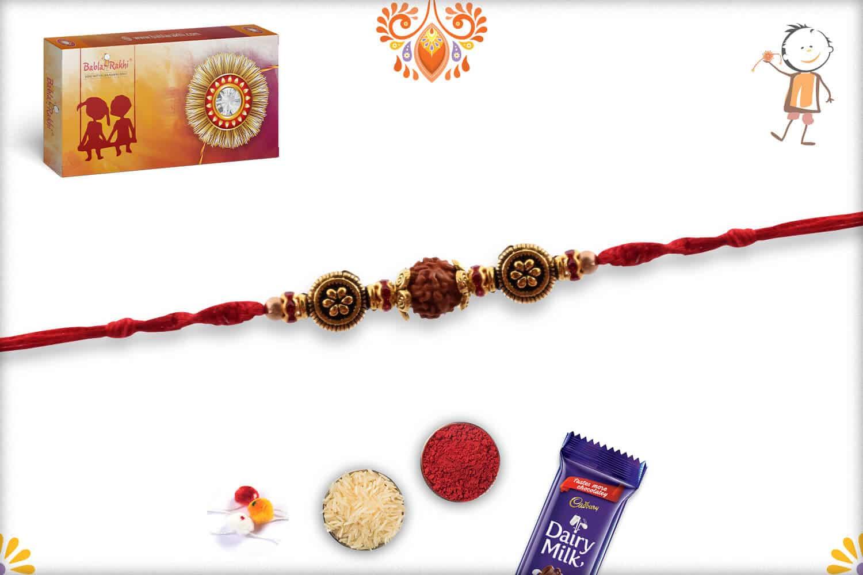 Rudraksh Rakhi with Unique Beads and Diamonds   Send Rakhi Gifts Online 2