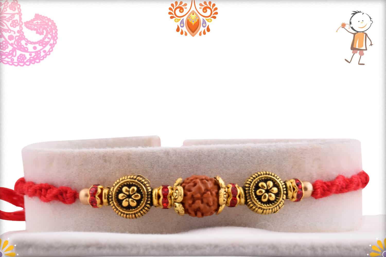 Rudraksh Rakhi with Unique Beads and Diamonds   Send Rakhi Gifts Online 1