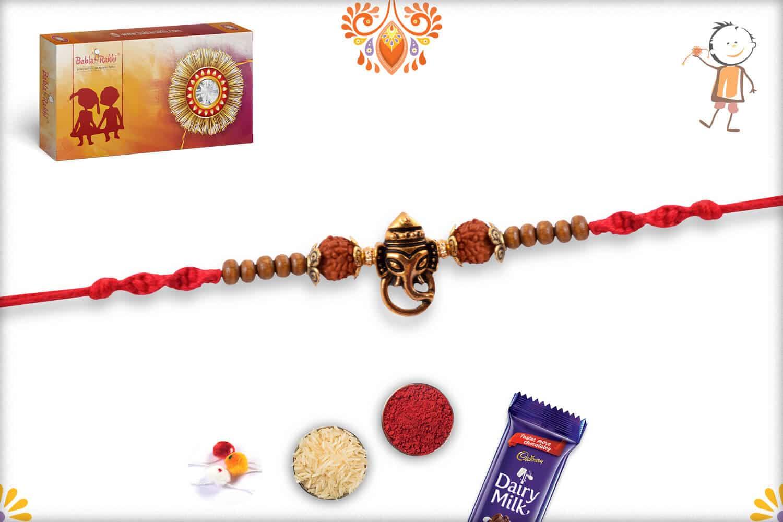 Ganesh Rakhi with Rudraksh and Sandalwood Beads | Send Rakhi Gifts Online 2