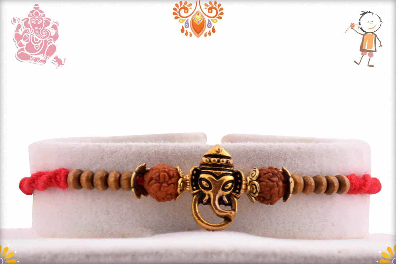 Ganesh Rakhi with Rudraksh and Sandalwood Beads | Send Rakhi Gifts Online 1