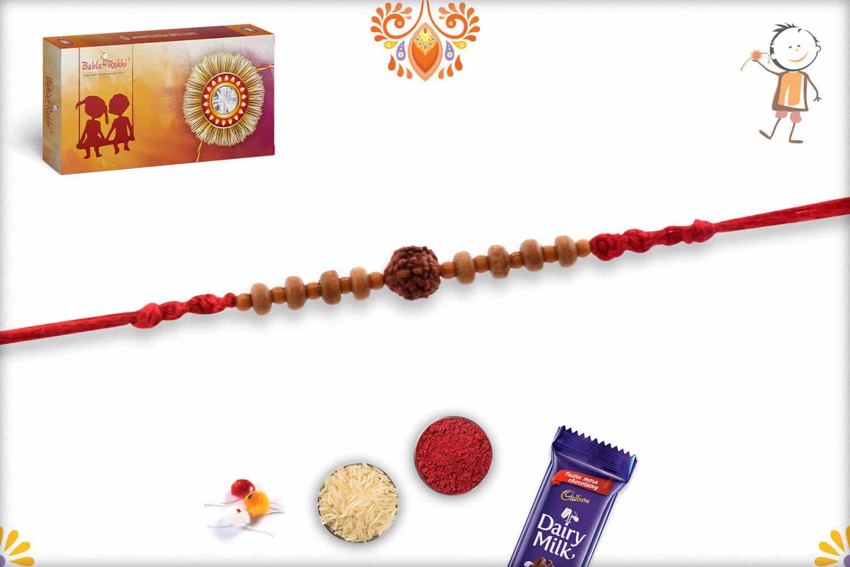 Simple Rudraksh Rakhi with Sandalwood Beads   Send Rakhi Gifts Online 2