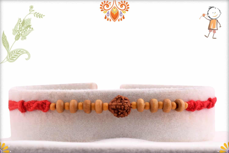 Simple Rudraksh Rakhi with Sandalwood Beads   Send Rakhi Gifts Online 1