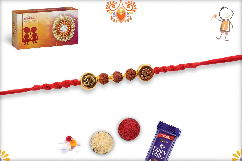 3 Rudraksh Rakhi with Om Engraved Beads   Send Rakhi Gifts Online 2