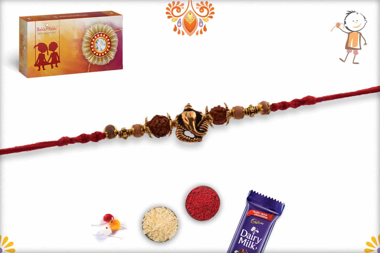 Ganpati Rakhi with Rudraksh and Sandalwood Beads | Send Rakhi Gifts Online 2