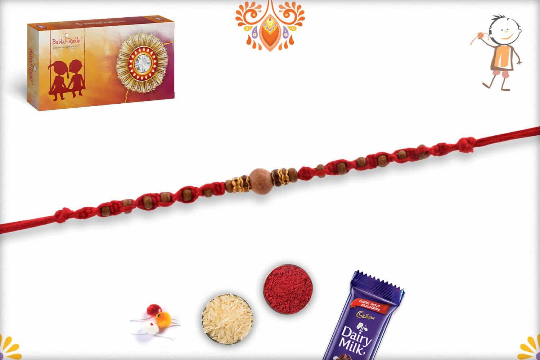 Uniquely Knotted Sandalwood Rakhi with Shining Diamonds | Send Rakhi Gifts Online 3