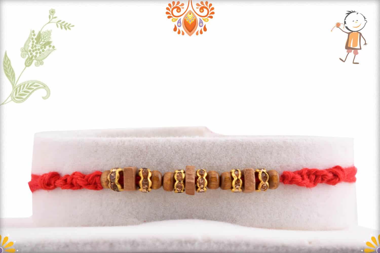 Unique Sandalwood Bead Rakhi with Shining Diamonds 1
