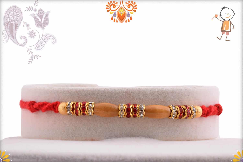 Oval Sandalwood Beads Rakhi with Handcrafted Thread   Send Rakhi Gifts Online 1