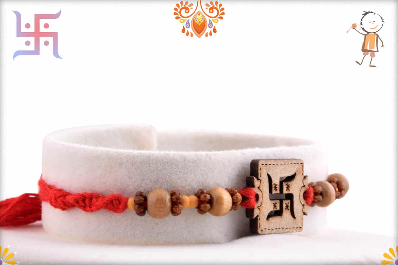 Wood Engraved Swastik Rakhi | Send Rakhi Gifts Online 2