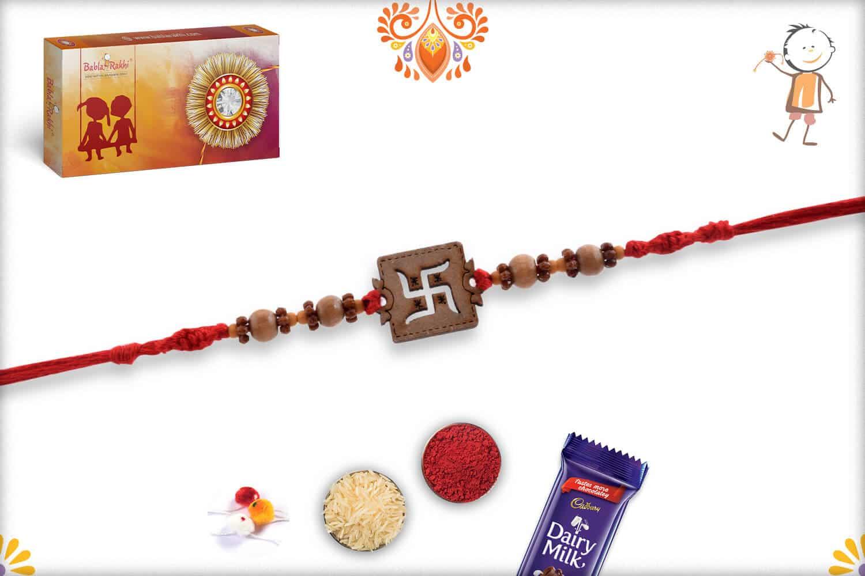 Wood Engraved Swastik Rakhi | Send Rakhi Gifts Online 3