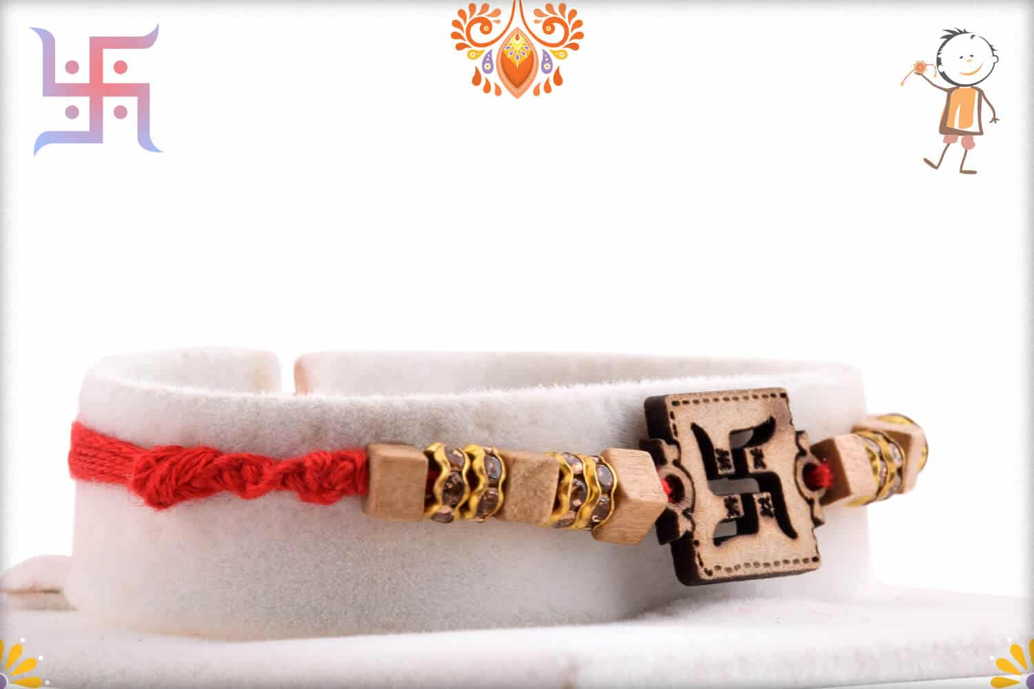 Wood Engraved Swastik Rakhi with Diamonds 2