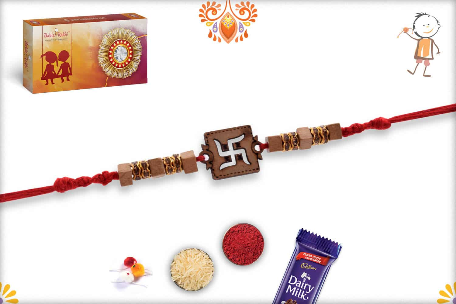 Wood Engraved Swastik Rakhi with Diamonds 3