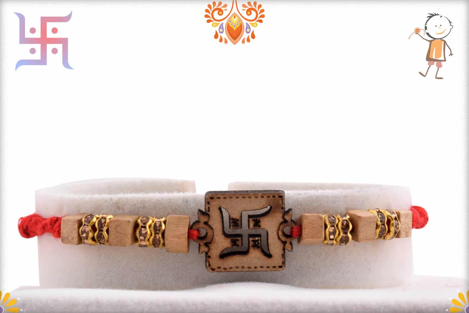 Wood Engraved Swastik Rakhi with Diamonds 1