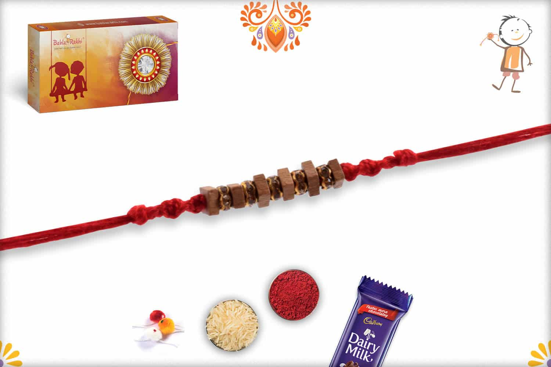 Handcrafted Square Sandalwood Bead Rakhi with Dazzling Diamonds | Send Rakhi Gifts Online 2