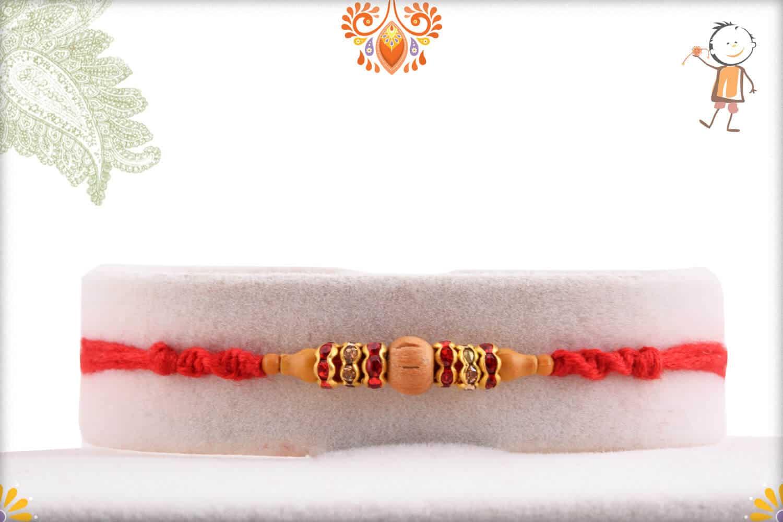 Delicate Sandalwood Bead Rakhi with Diamond Rings 1