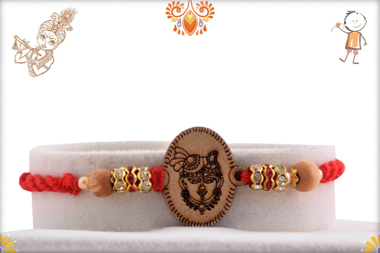 Wood Engraved Shreenathji Rakhi with Diamonds 1