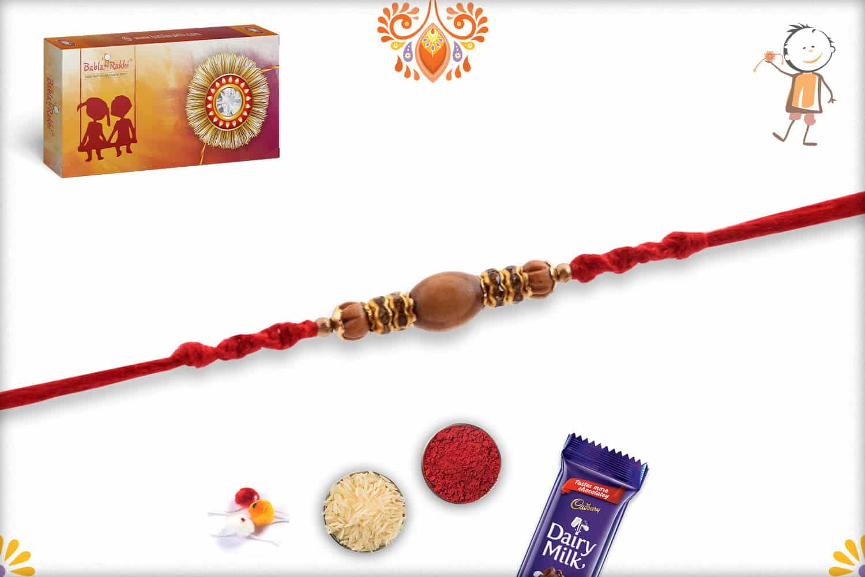 Handcrafted Oval Sandalwood Beads with Diamond Rakhi | Send Rakhi Gifts Online 2