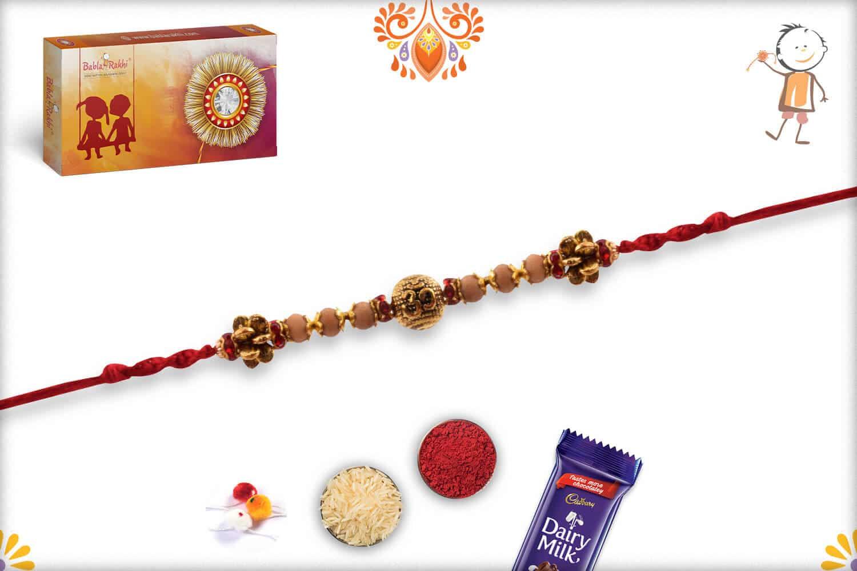 Om Engraved Bead Rakhi with Sandalwood Beads | Send Rakhi Gifts Online 2
