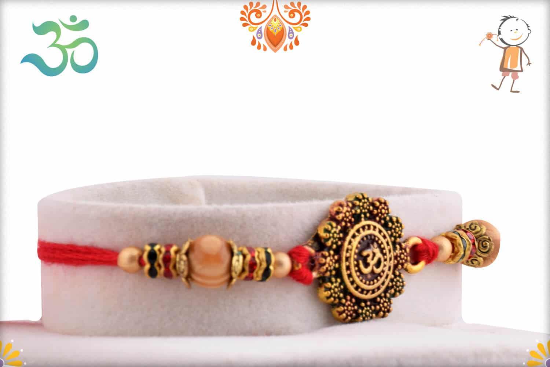 Designer OM Sandalwood Diamond Rakhi 2