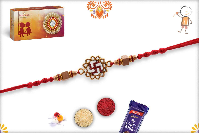 Diamond Swastik with Square Sandalwood Bead Rakhi | Send Rakhi Gifts Online 2