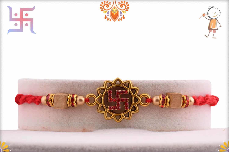 Diamond Swastik with Square Sandalwood Bead Rakhi | Send Rakhi Gifts Online 1