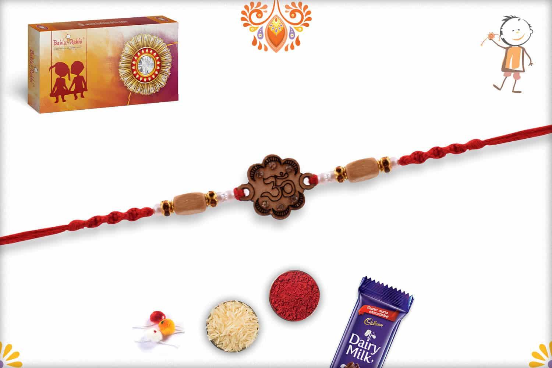 Wood Engraved OM Sandalwood Diamond Rakhi   Send Rakhi Gifts Online 2