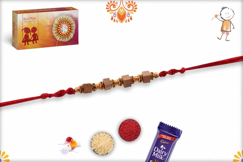 Handcrafted Square Sandalwood Bead Rakhi with Golden Beads | Send Rakhi Gifts Online 2