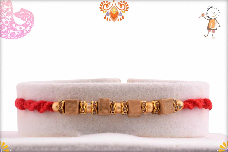 Handcrafted Square Sandalwood Bead Rakhi with Golden Beads | Send Rakhi Gifts Online 1