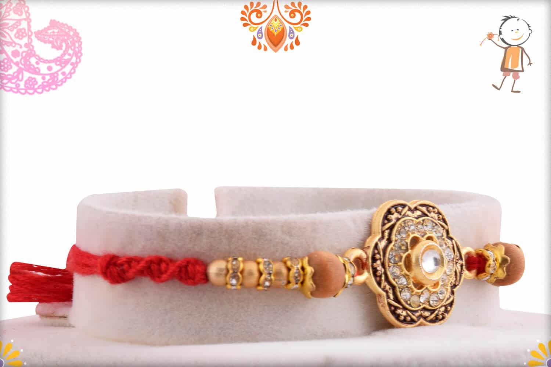 Unique Diamond Flower Rakhi with Sandalwood Beads | Send Rakhi Gifts Online 2