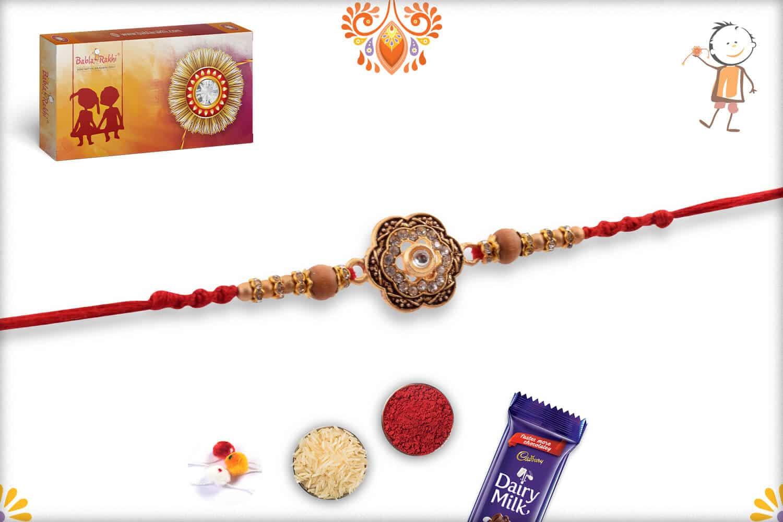 Unique Diamond Flower Rakhi with Sandalwood Beads | Send Rakhi Gifts Online 3