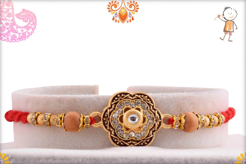 Unique Diamond Flower Rakhi with Sandalwood Beads | Send Rakhi Gifts Online 1