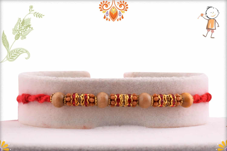Traditional Sandalwood Beads with Diamond Rakhi   Send Rakhi Gifts Online 1