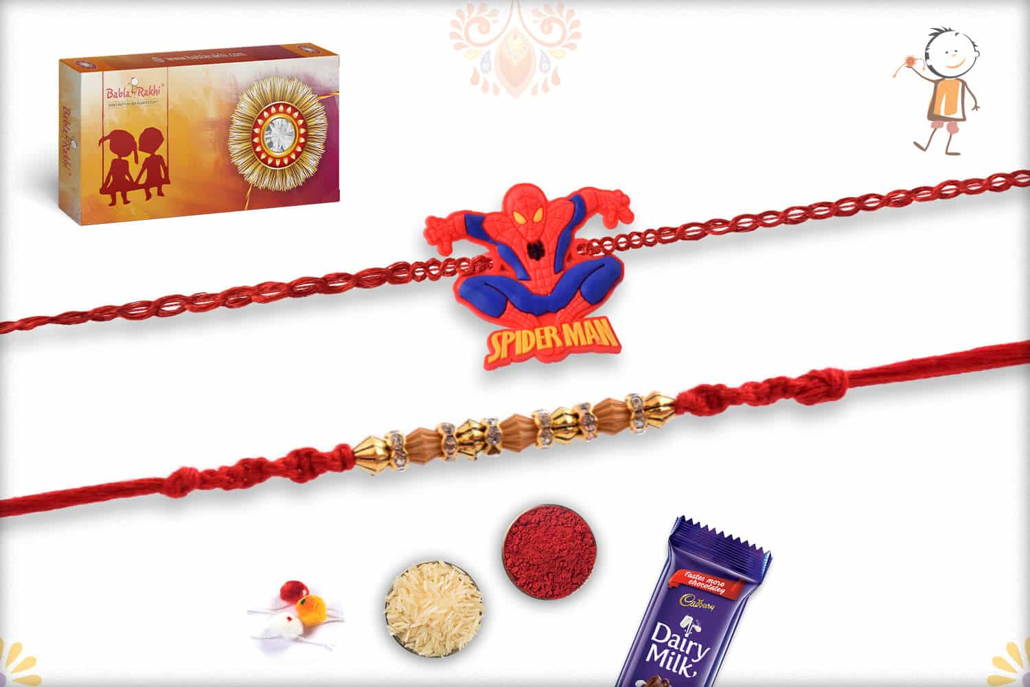 Two Set Rakhi with Cadbury Celebrations (Small) 1