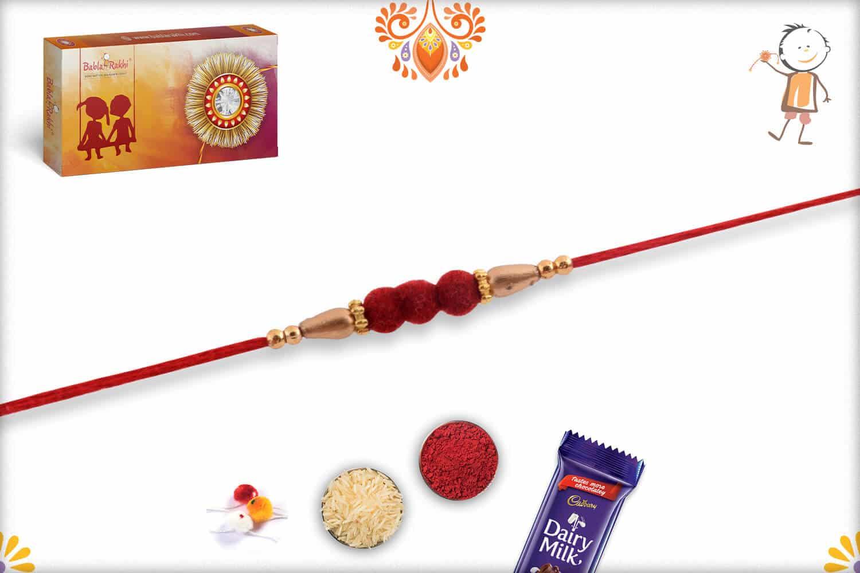 Delicate 3 Red Velvet Beads Rakhi with Golden Beads | Send Rakhi Gifts Online 2