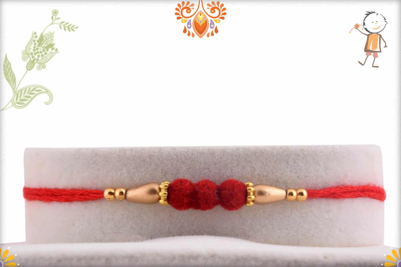 Delicate 3 Red Velvet Beads Rakhi with Golden Beads | Send Rakhi Gifts Online 1