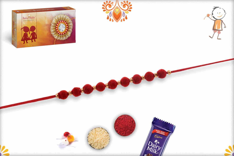 Stunning 9 Red Velvet Beads Rakhi   Send Rakhi Gifts Online 2