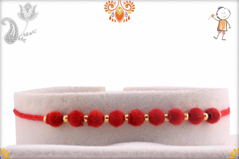 Stunning 9 Red Velvet Beads Rakhi   Send Rakhi Gifts Online 1